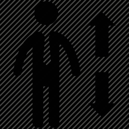arrows, business person, businessman, investor, man icon