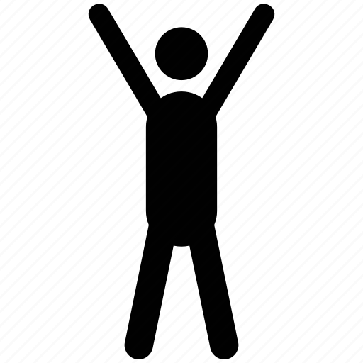 athlete, exerciser, hand raising, sportsman, sportsperson, trainer icon