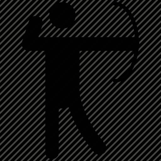 aiming, archer, archery pictogram, bowman, olympics archer icon