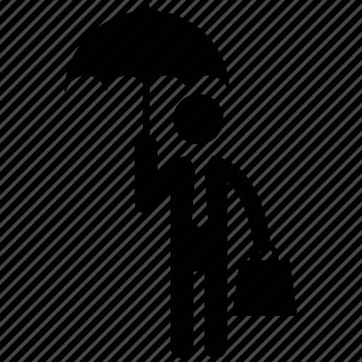businessman, inventor, man, man with umbrella, umbrella, visitor icon