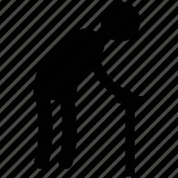 grandfather, grandpa, old man, old person, silhouette icon