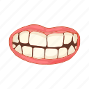 cartoon, female, lips, mouth, smile, teeth, white icon