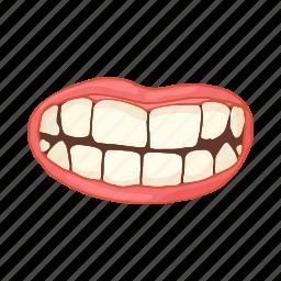 cartoon, female, lips, mouth, smile, teeth, white icon