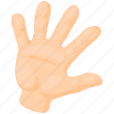 arm, cartoon, finger, hand, human, palm, person icon