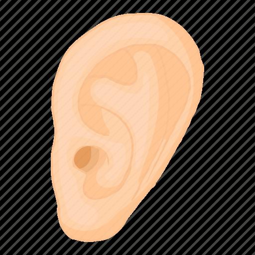 cartoon, deaf, ear, human, sense, shape, sound icon