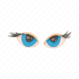 cartoon, eye, eyelash, human, iris, optical, vision icon