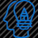 bulb, creative, creativity, head, imagination, process, thinking