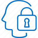 head, mind, padlock, privacy, protection, security, thinking icon