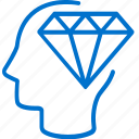 diamond, honesty, integrity, mind, precious, reliability, thinking icon