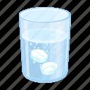 aspirin, glass, health, medicine, solution, tablet, water icon