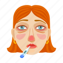 disease, face, fever, illness, person, sick, thermometer icon