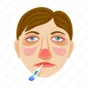 person, disease, illness, fever, sick, face, thermometer