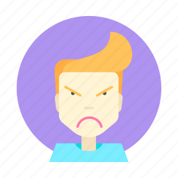 boy, discontent, displeasure, emotions, feeling, unhappiness, unrest icon