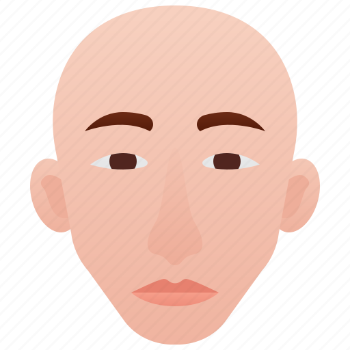 bald, elements, face, head, human icon