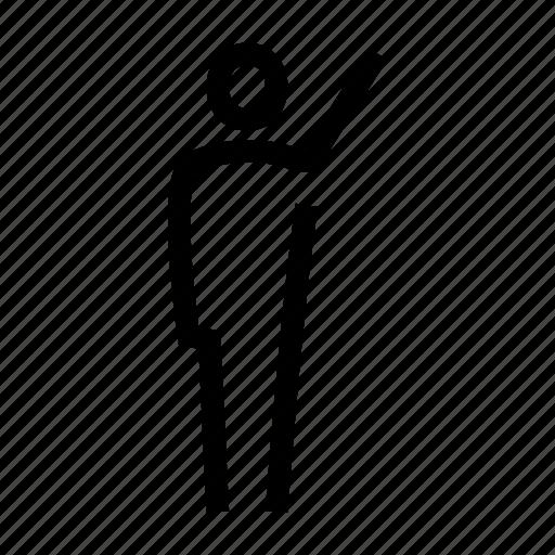 body, hand, human, man, pose, standing, waving icon