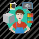 avatar, computer, designer, desk, process, workspace icon