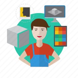 avatar, computer, designer, desk, process, workspace icon