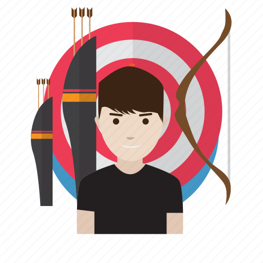 archery, arrow, atlet, avatar, bow, competition, target icon