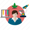 avatar, biologist, chemistry, experiment, laboratory, research, science icon