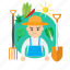 agriculture, avatar, farmer, house, nature, profession, vegetables icon