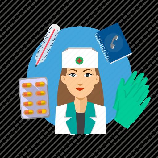 assistance, avatar, hospital, nurse, occupation, profession, professional icon