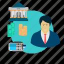 customer, service, people, avatar, male, bank, teller icon