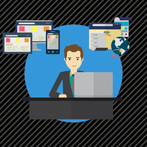 avatar, business, concept, e-commerce, management, planner, website icon