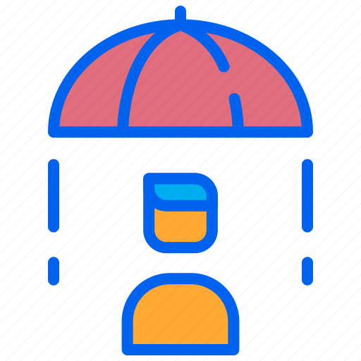 company, employee, insurance, umbrella, worker icon