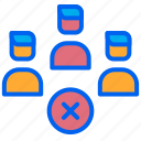 employee, group, rejected, team, work icon