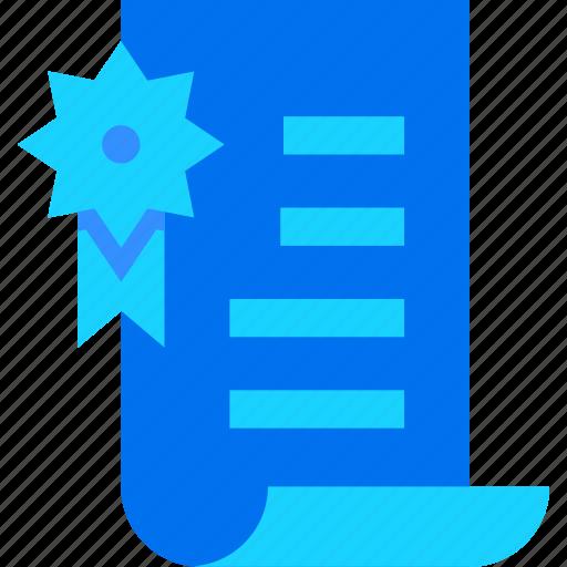 award, badge, certificate, document, ribbon icon