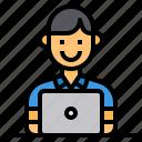 computer, employee, laptop, man, worker