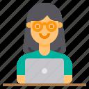 computer, employee, laptop, woman, worker