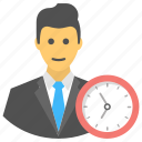 clock, deadline, man, punctual, schedule icon
