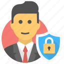 businessman, protection shield, secure user, shield, user icon