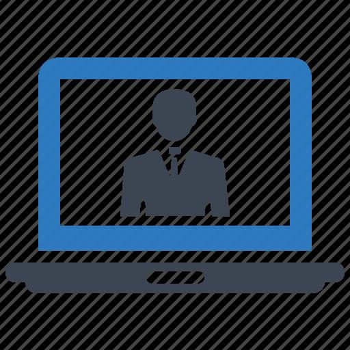 businessman, computer, laptop, online communication, video call icon