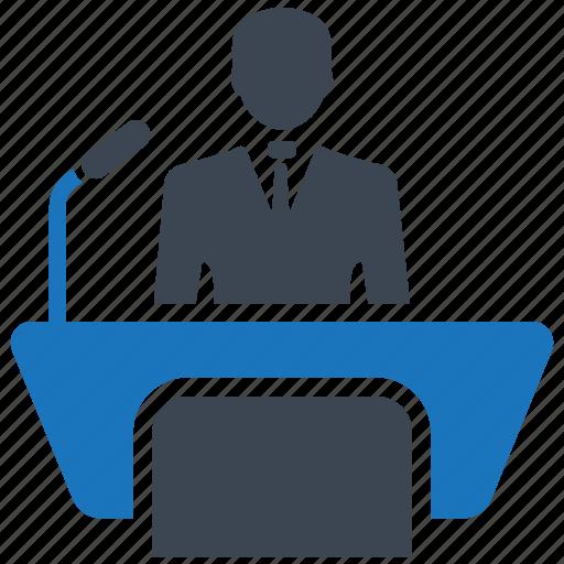 businessman, conference, lecture, speaker, speech, teacher icon