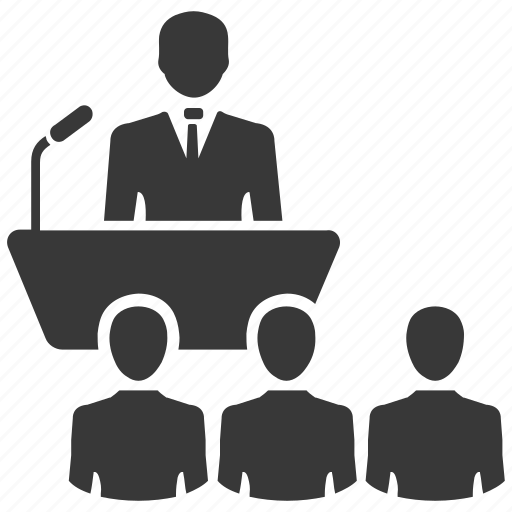 business plan, conference, lecture, meeting, speech icon