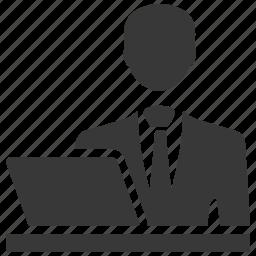admin, businessman, computer, laptop, user, working icon