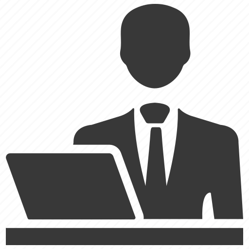 admin, businessman, computer, laptop, user, working icon