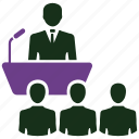 business conference, business meeting, business plan, lecture, meeting, speech icon