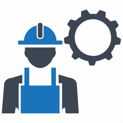 constructor, gear, helmet, settings, worker icon