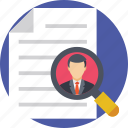 hiring, interview, magnifying glass, recruitment, resume icon