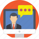 teleconference, video call, video calling, video chat, video conference icon