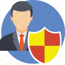 businessman, employee, insurance, protection, shield icon