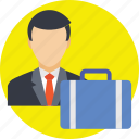 briefcase, business tour, businessman, travel, travelling icon