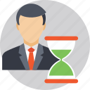 businessman, deadline, hourglass, time management, time table icon