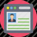 curriculum vitae, cv, portfolio, profile, resume icon