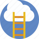 clouds, ladder, opportunity, success, vision icon