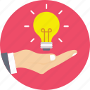 creative, hand, idea, innovation, light bulb icon