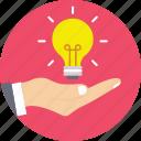 creative, hand, idea, innovation, light bulb